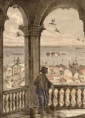 A Glimpse of Charleston and Bay, from St. Michael´s Church
