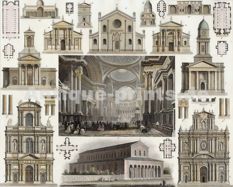 years old print of Pantheon La Madeleine Paris 9x11 antique illustration CHURCHES Vintage Architecture Prints 170