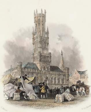 Tower of La Halle with Linen Market, Bruges