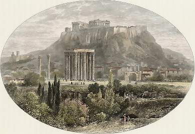 Ruins of the Temple of Jupiter and the Acropolis, Athens