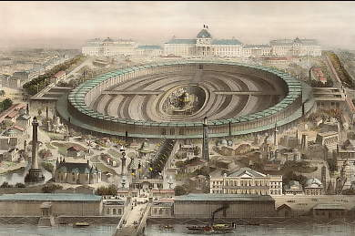 Champ Des Mars, Paris, Showing Exhibition of 1867 & Military School