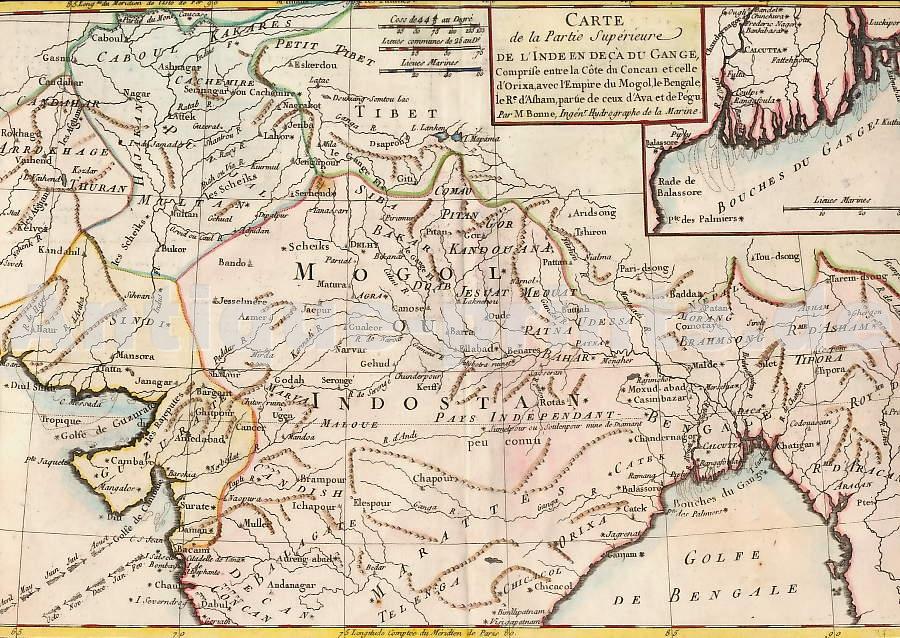 Carte De Linde Avec Le Gange.Antique Prints Maps Carte De La Partie Superieure De Lainde