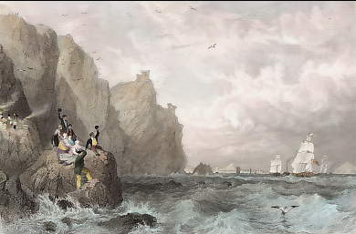 Fast Castle (Berwickshire), the Royal Squadron Conveying His Majesty George IV Towards Edinburgh