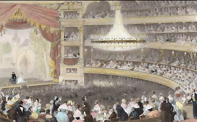 Interior of the Italian Theater, Paris, Debut of an Actor