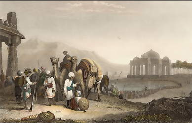 Scene in Kattiawar. Travellers and Escort.