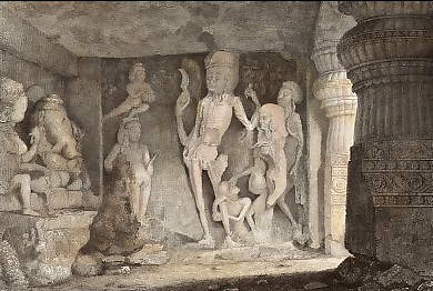 Skeleton Group in the Rameswur, Caves of Ellora
