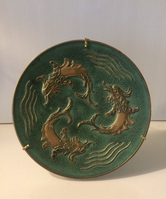 Bronze Tray Dolphins