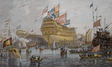 Launch of the Nelson at Woolwich, July 4th, 1814