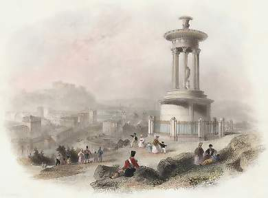 Edinburgh from the Calton Hill, with Dugald Stewart´s Monument