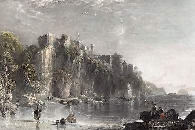 Colzean Castle, with the Fairy Coves