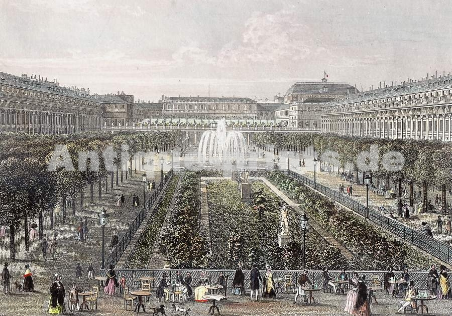 Antique Prints Paris And Its Environs Jardin Du Palais Royal