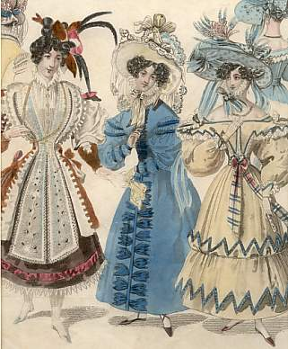 Lady Newest Fashions for December 1829 : Costumes of all Nations, Morning and Diner Dresses, A Frenc
