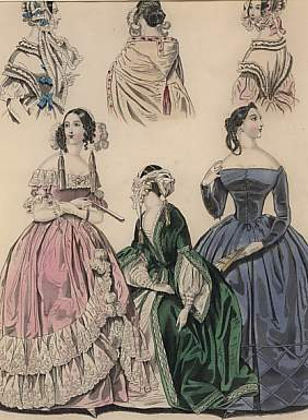 The Last and  Newest London & Paris Fashions 1841 : Evening Dresses.