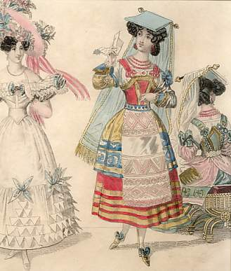 Lady Newest Fashions for May 1829 : Evening Dress, Fancy Costumes of All Nations.