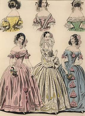 The Last and  Newest London & Paris Fashions 1841 : Morning and Evening Dresses.