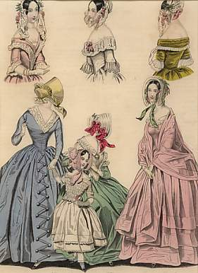 The Last and  Newest London & Paris Fashions 1841 : Morning dresses.