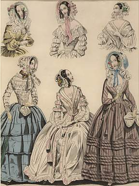 The Last and  Newest London & Paris Fashions 1841 : Morning Dresses
