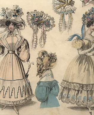Lady Newest Fashions for October1829 : Walking and Evening Dresses.